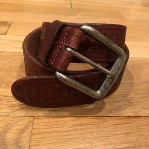Lucky Brand Brown Leather Belt Vintage Look sz 32